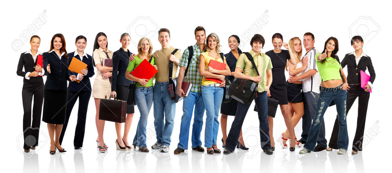 Big group of the young smiling  students. Over white background Stock Photo - 3149375
