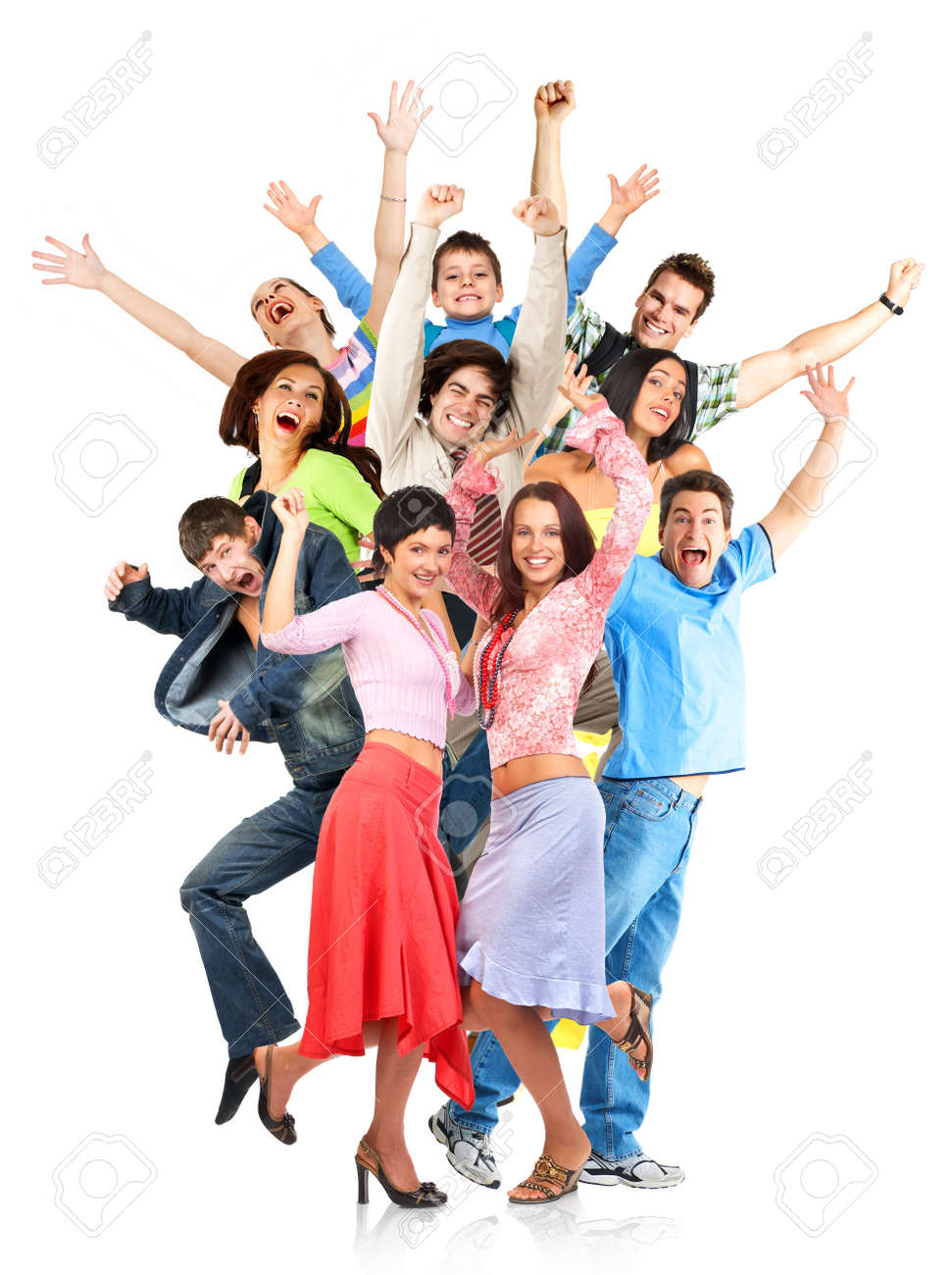 Happy funny people. Isolated over white background Stock Photo - 3158943
