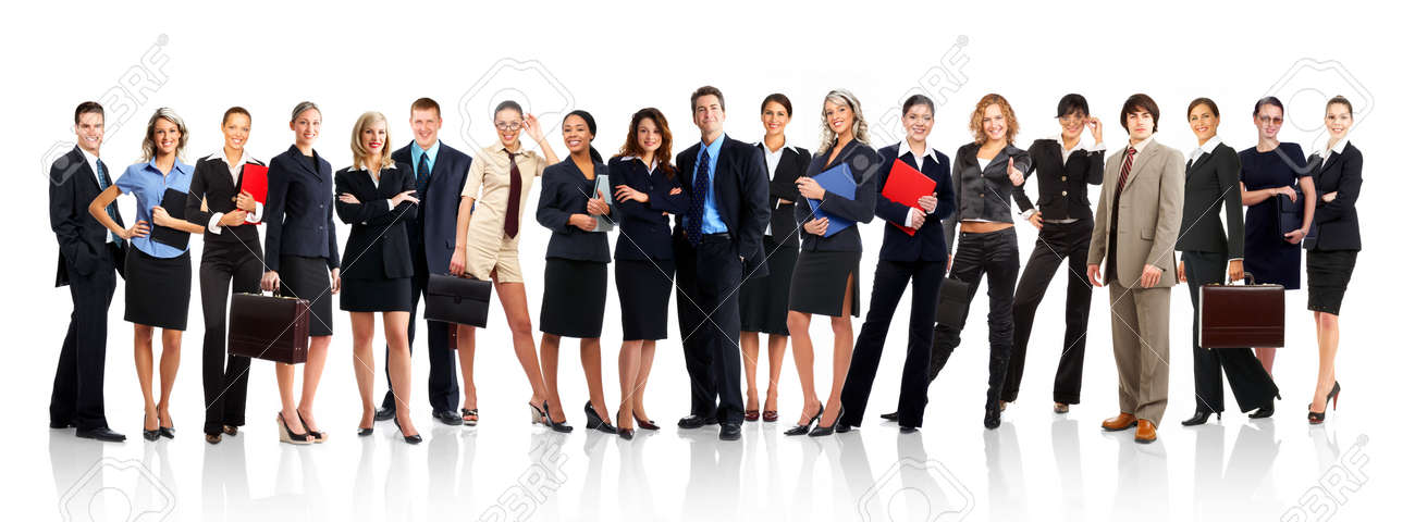 Large group of young smiling business people. Over white background Stock Photo - 3173412