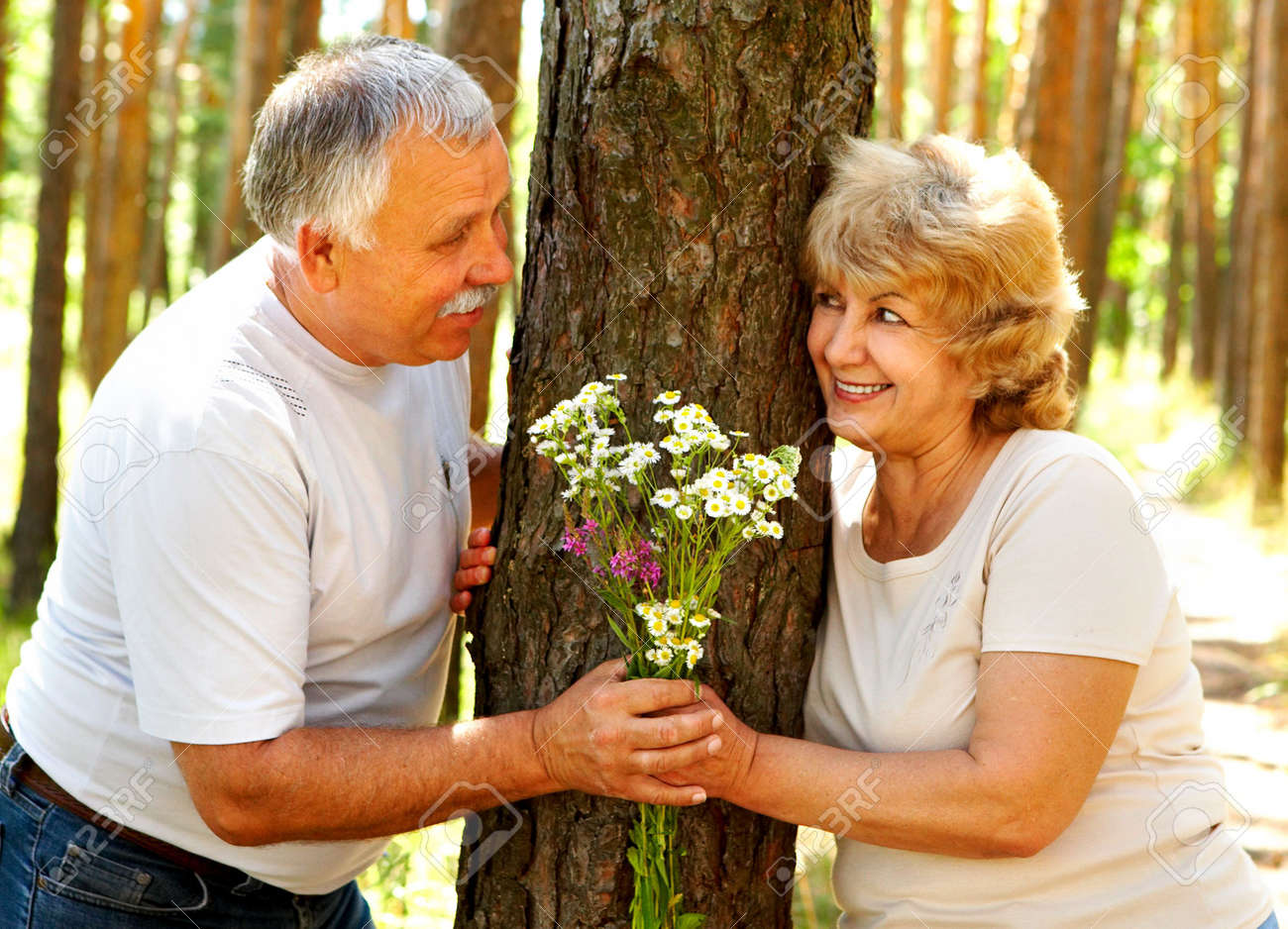 Smiling happy  elderly couple in love outdoor Stock Photo - 3382452