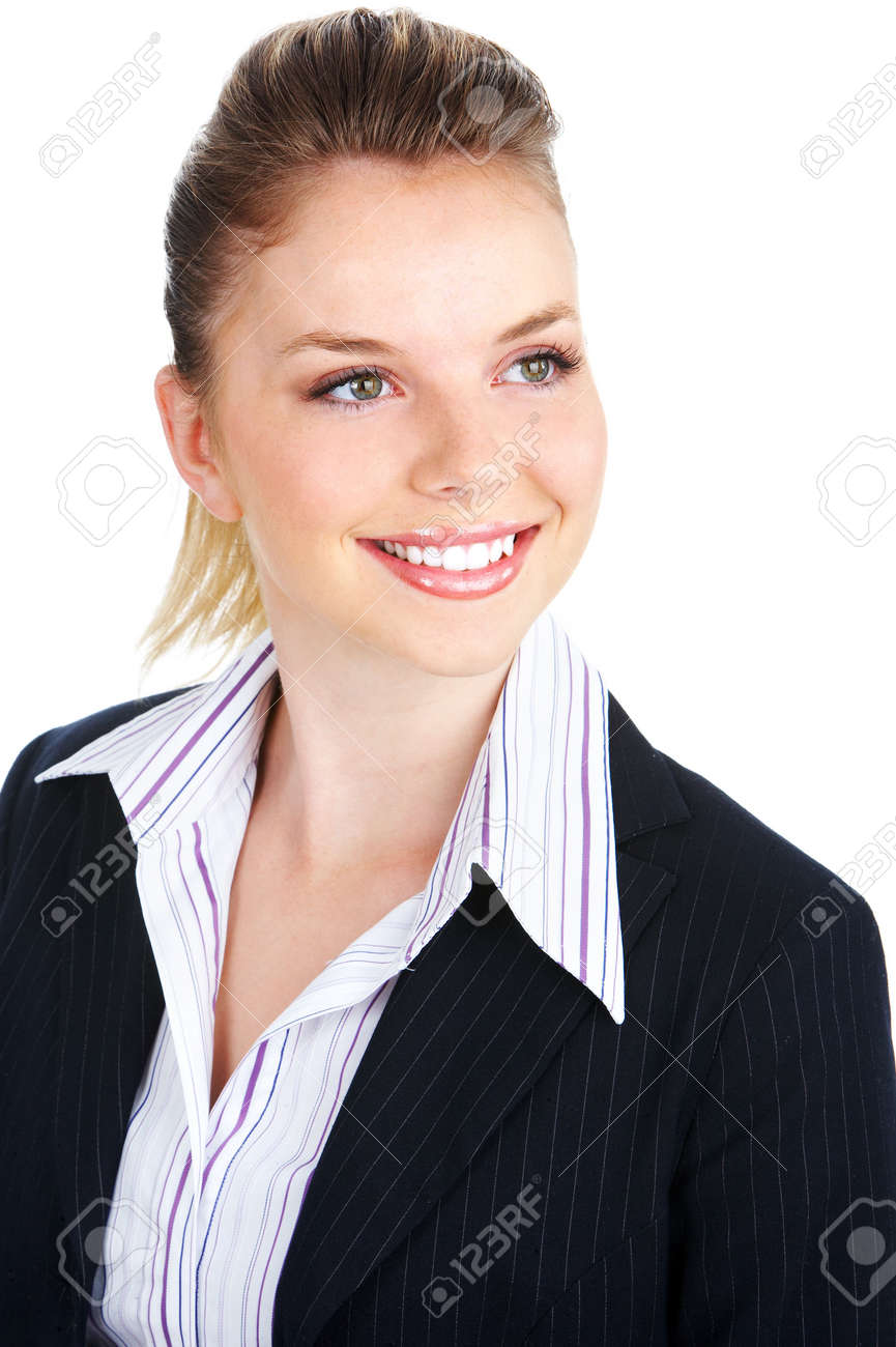 Smiling business woman. Isolated over white background Stock Photo - 3454961