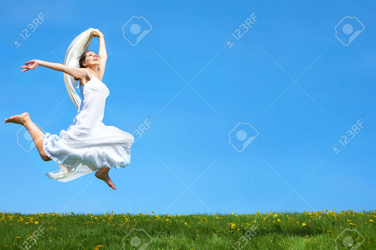 Freedom. Happy young woman running  in the field Stock Photo - 3584344
