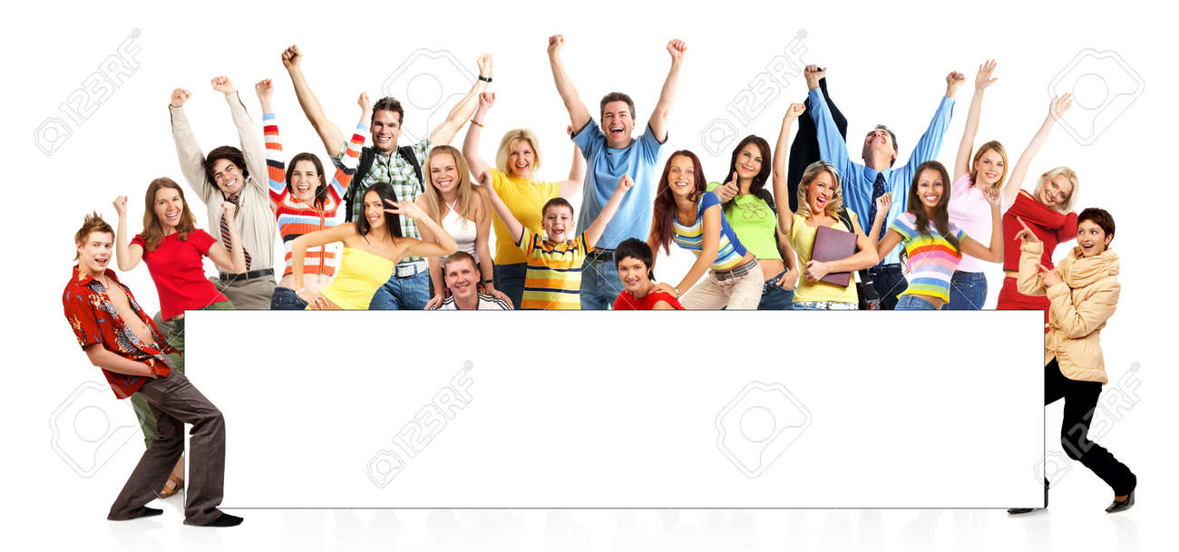 Happy funny people. Isolated over white background Stock Photo - 3626684