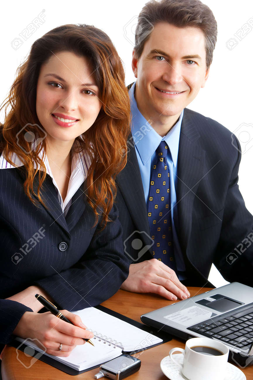 business people working with laptop. Over white background Stock Photo - 3663763