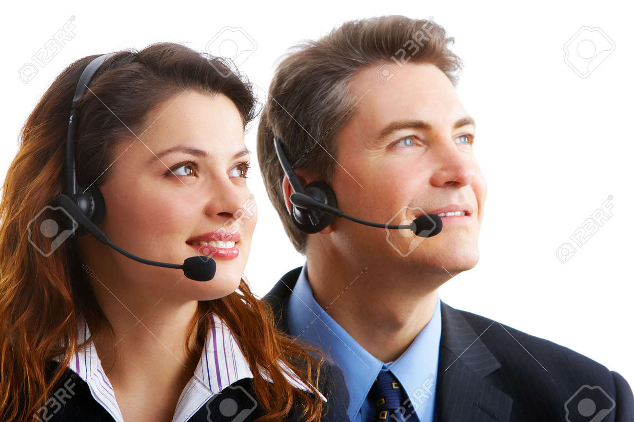 business people with headsets. Over white background Stock Photo - 3663722