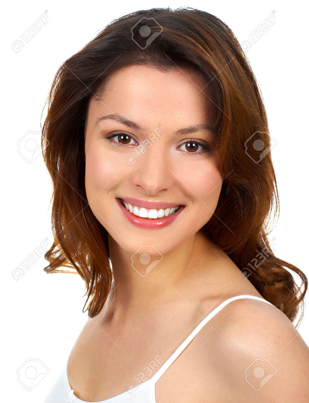 Beautiful young woman smiling. Isolated over white background - 3754984