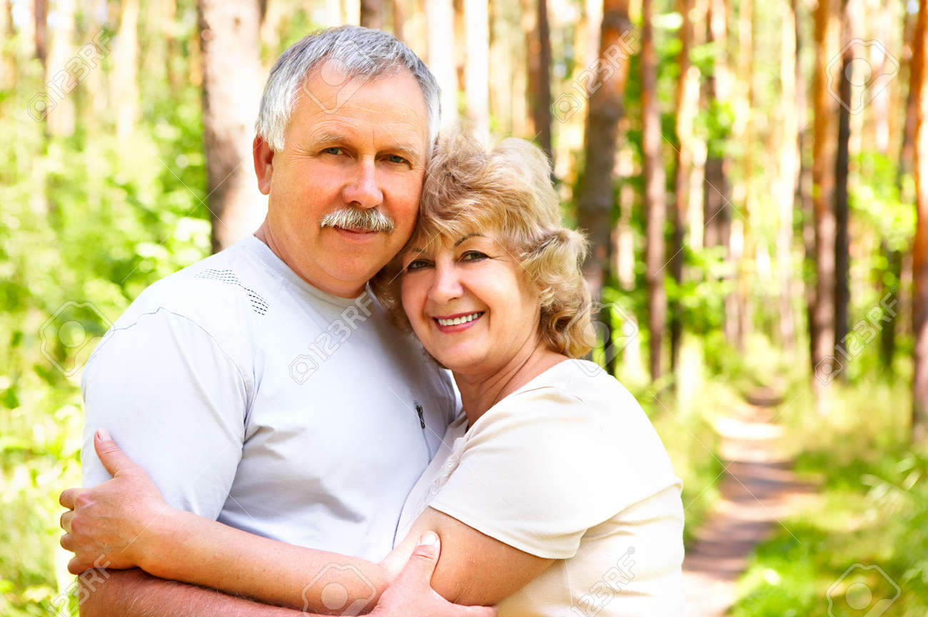 Smiling happy  elderly couple in love outdoor Stock Photo - 3784564