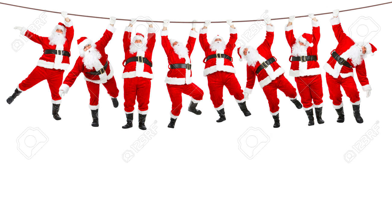 Funny Christmas Images.Funny Christmas Santa Isolated Over White Background