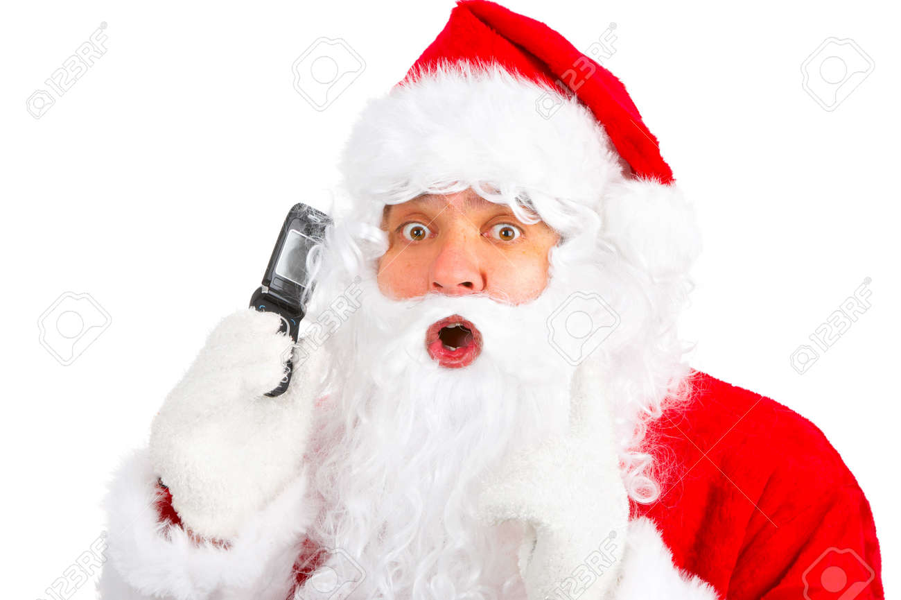 Christmas Santa with cellular. Over white background Stock Photo - 3814069