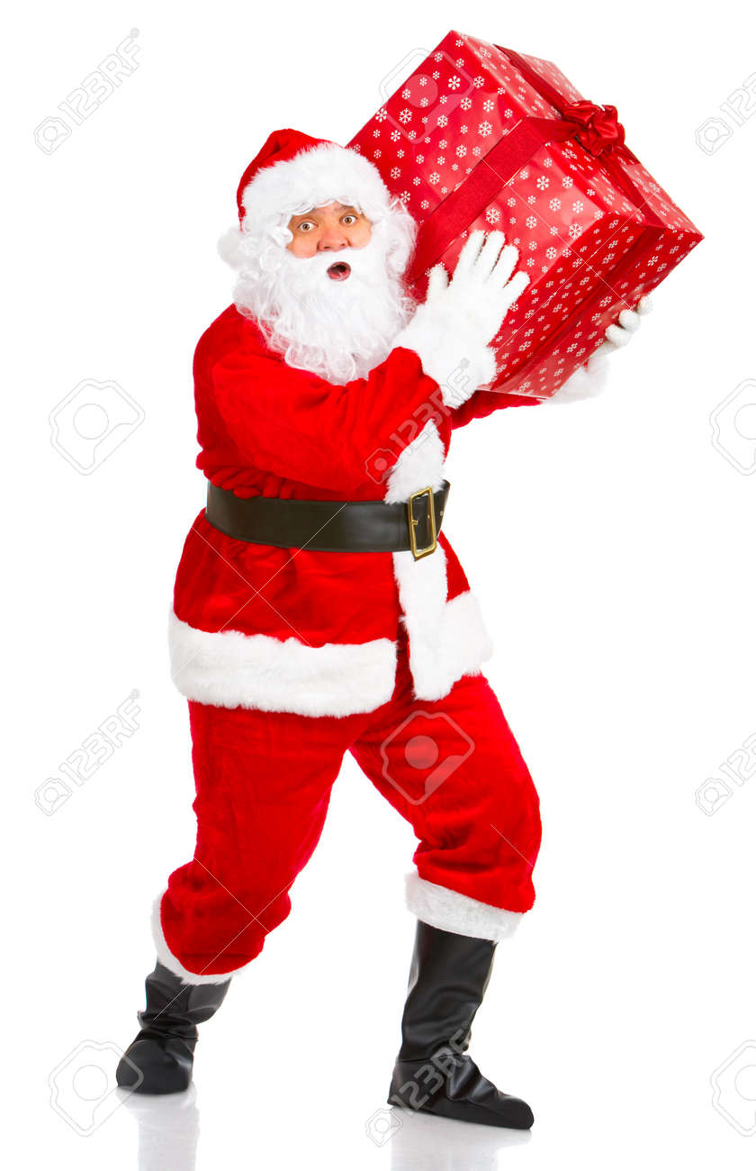 Happy Christmas Santa with gifts. Over white background Stock Photo - 3814065