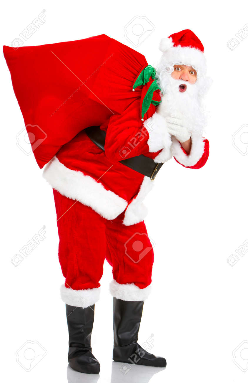 Happy Christmas Santa with gifts. Over white background Stock Photo - 3814061