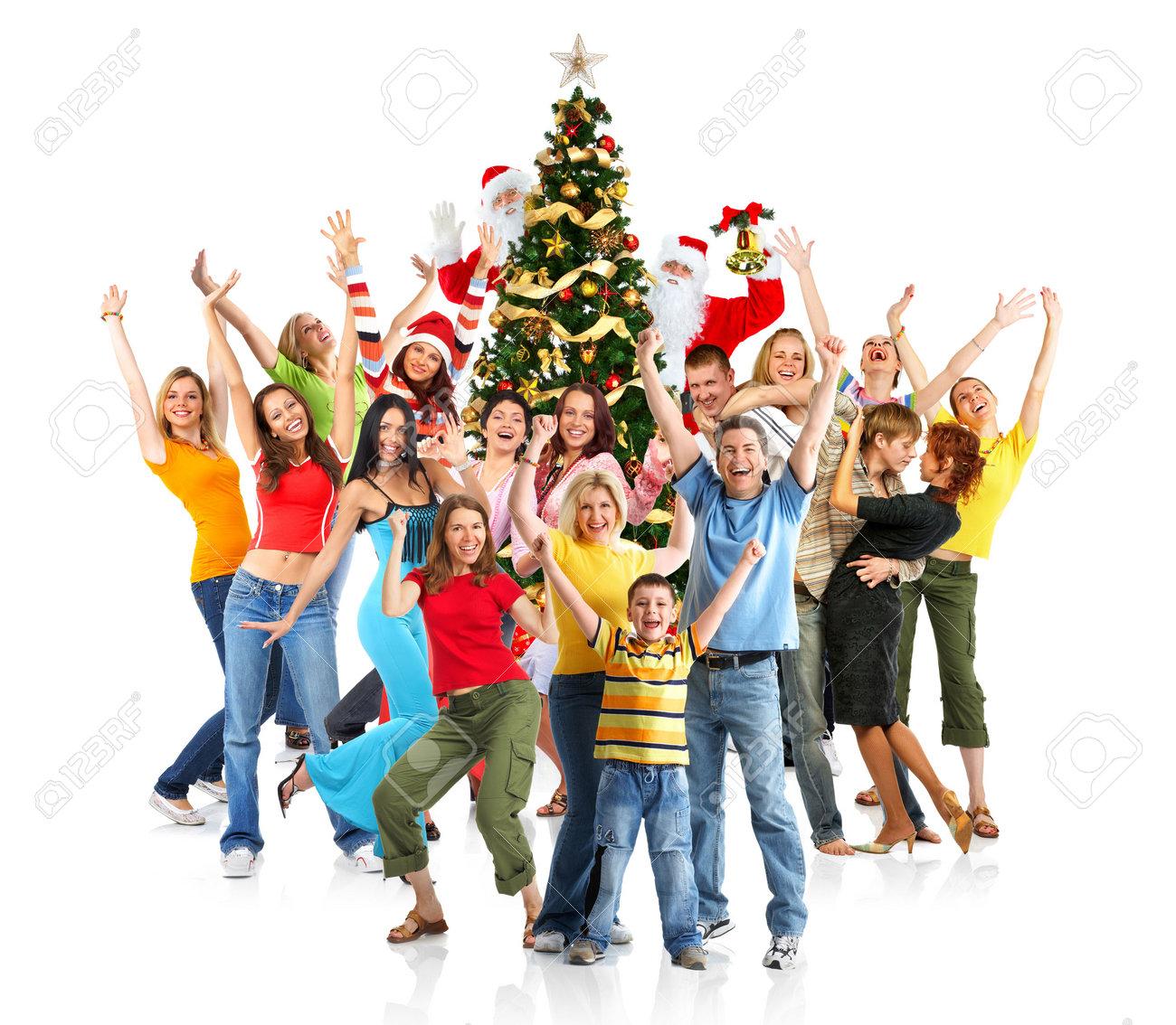Gente Feliz En Navidad.Gente Feliz Santa Y Arbol De Navidad Mas De Fondo Blanco