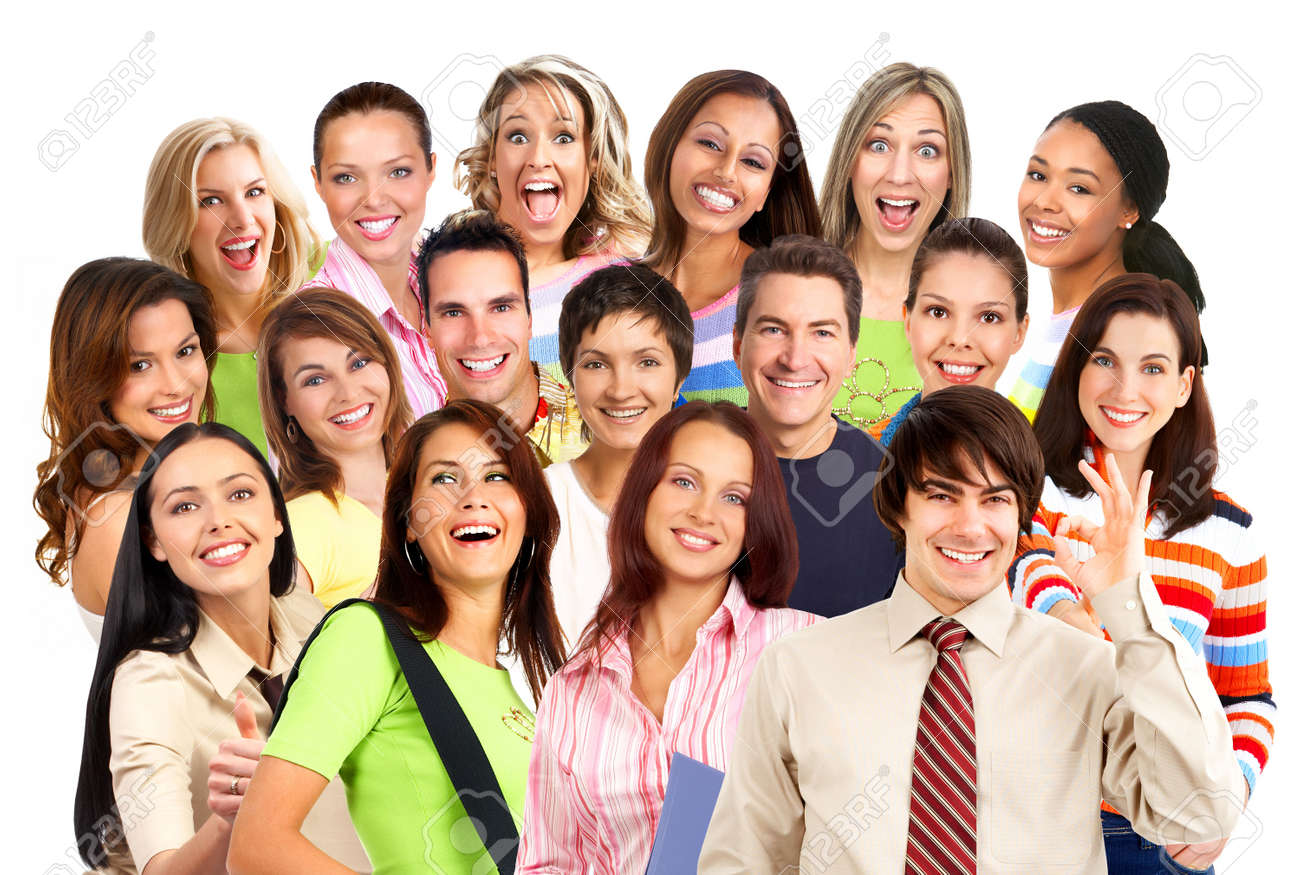 Happy smiling people. Over white background Stock Photo - 3822990
