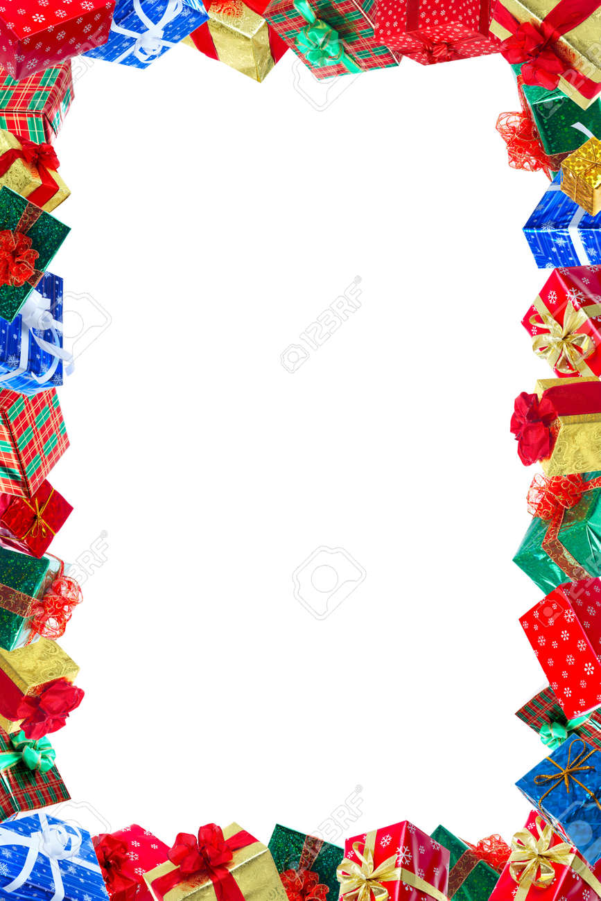 Christmas Presents Frame. Isolated Over White Background Stock Photo ...