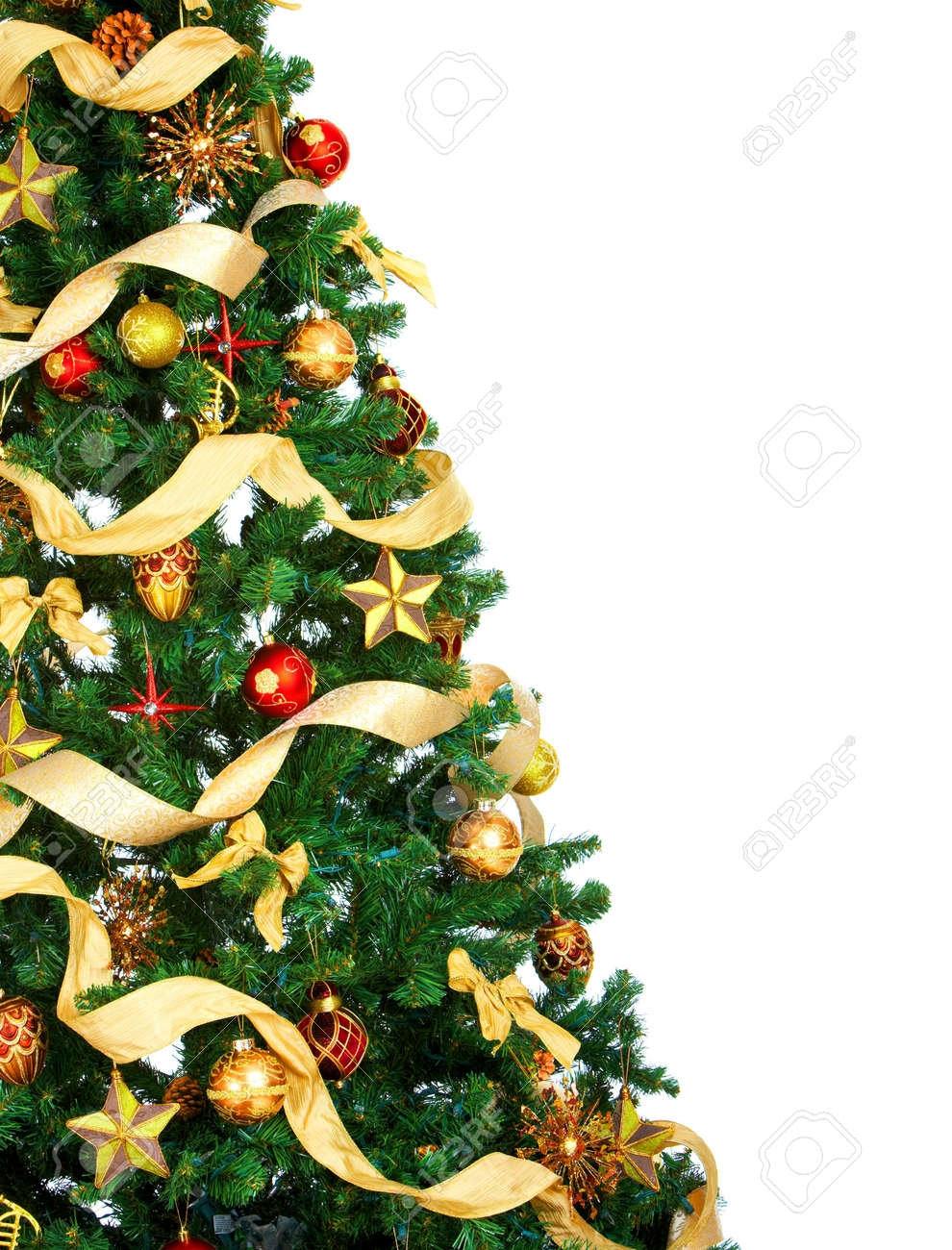 Christmas Tree Background.Christmas Tree And Decorations Over White Background