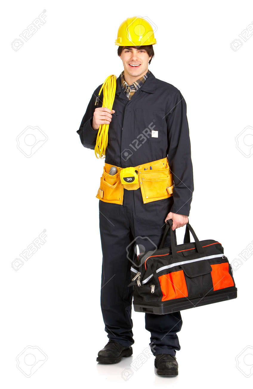 Young handsome builder in uniform. Isolated over white background Stock Photo - 4080227