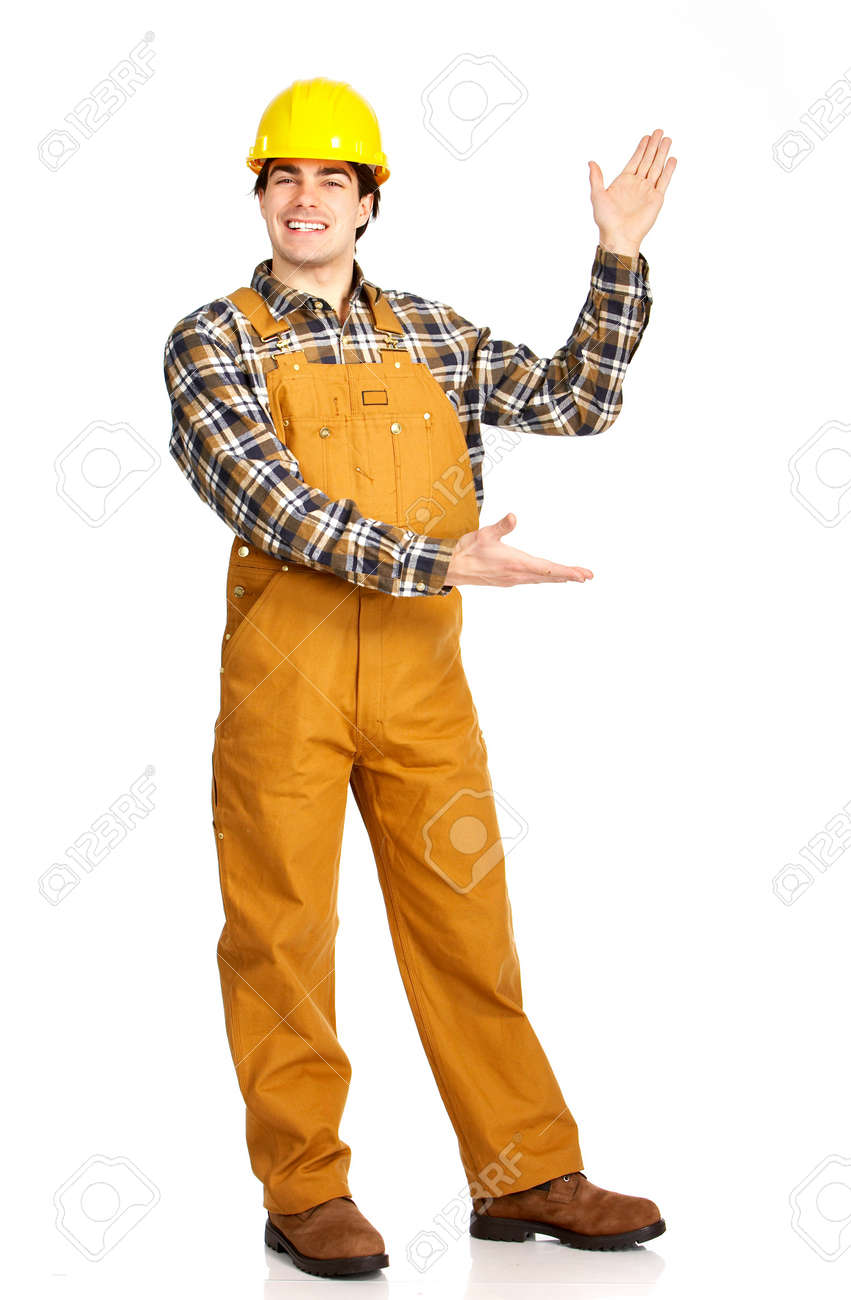 Young handsome builder in uniform. Isolated over white background Stock Photo - 4080245