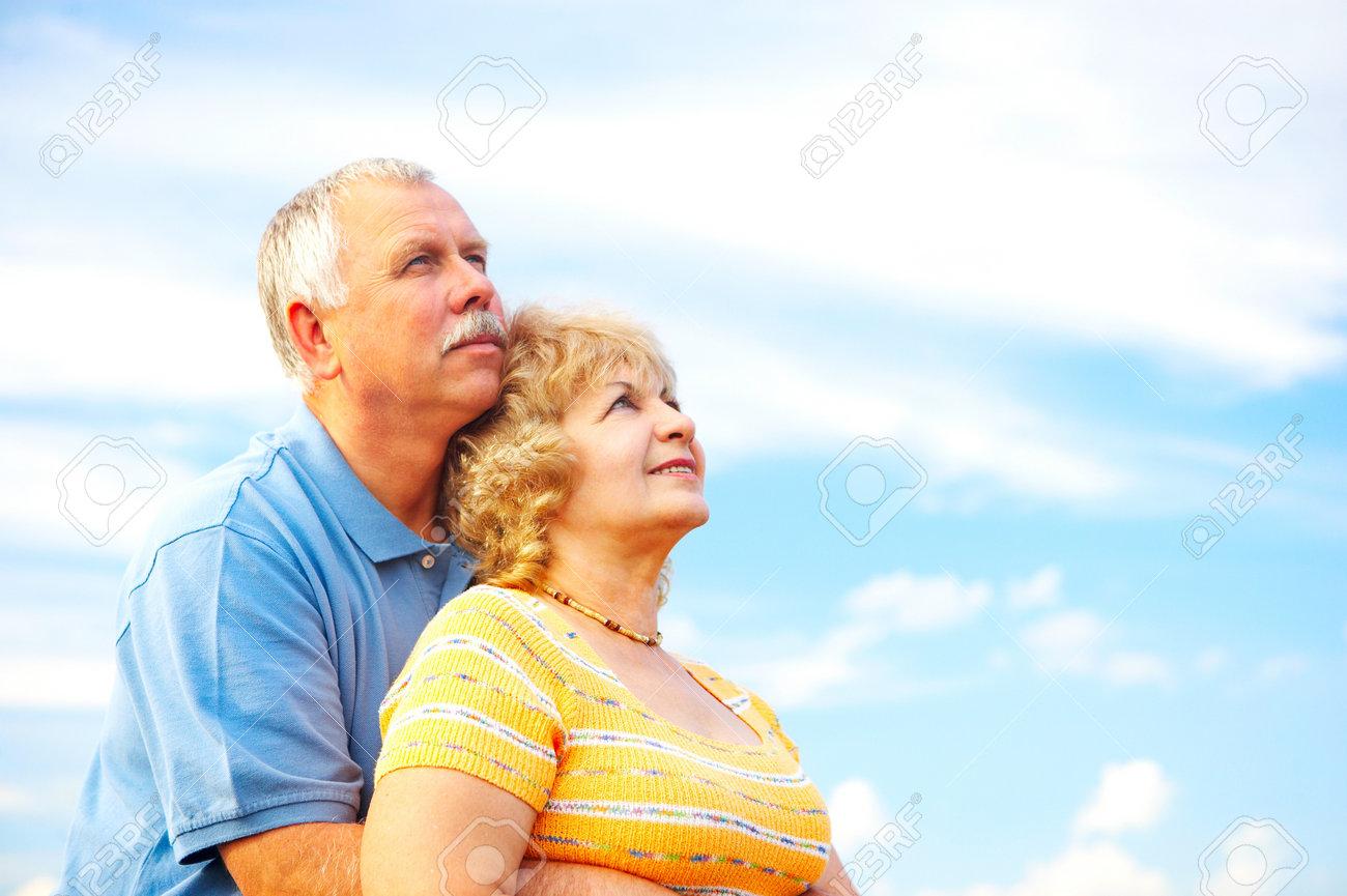 Smiling happy elderly couple in love outdoor Stock Photo - 4159691