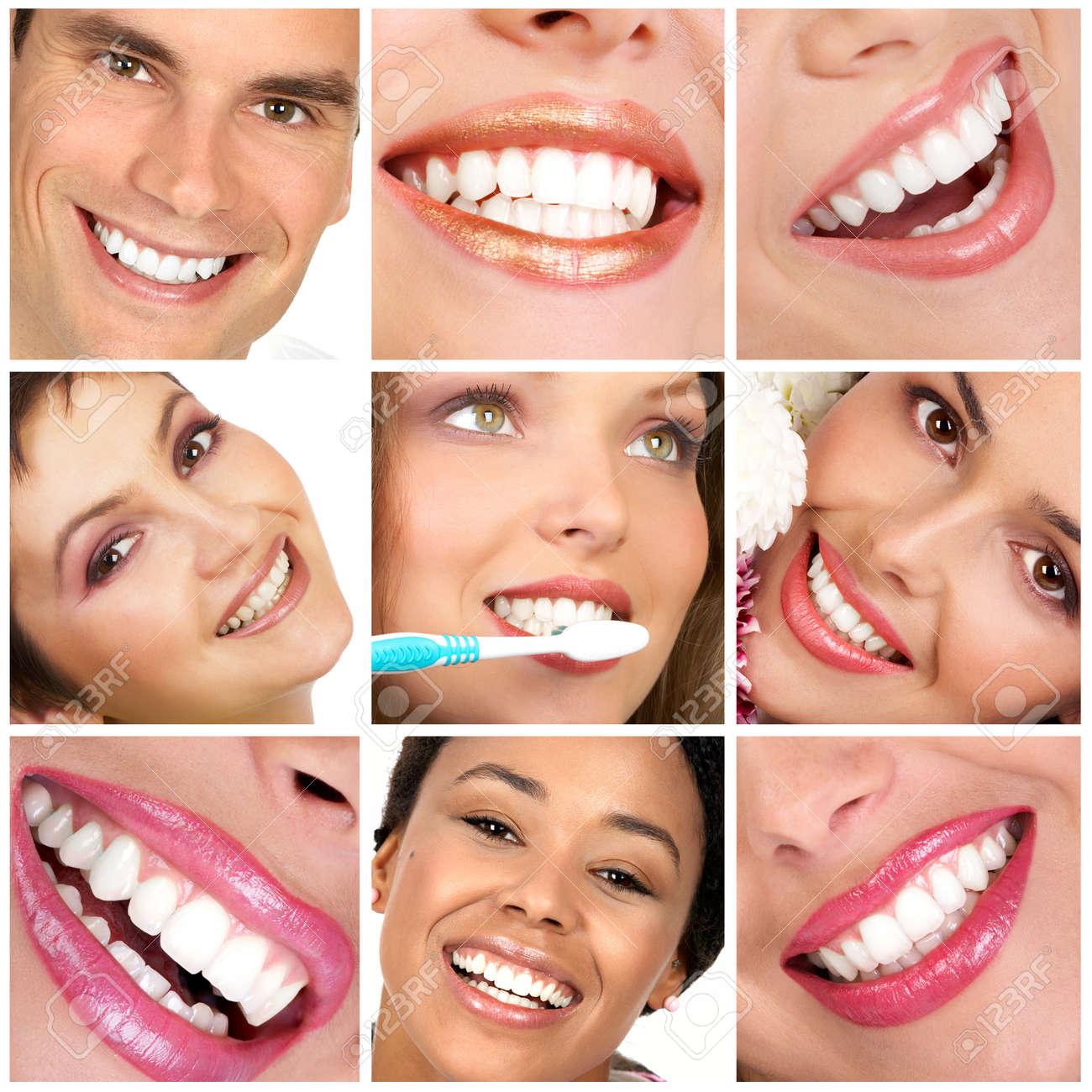 Smiling  young people with healthy white teeth Stock Photo - 4159836