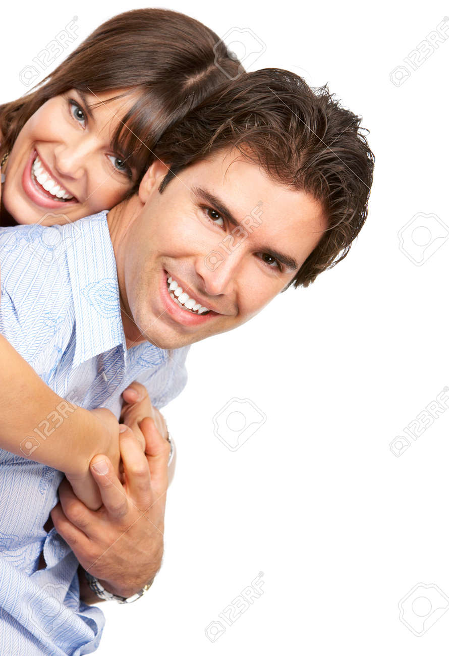 Happy smiling couple in love. Over white background Stock Photo - 4198372