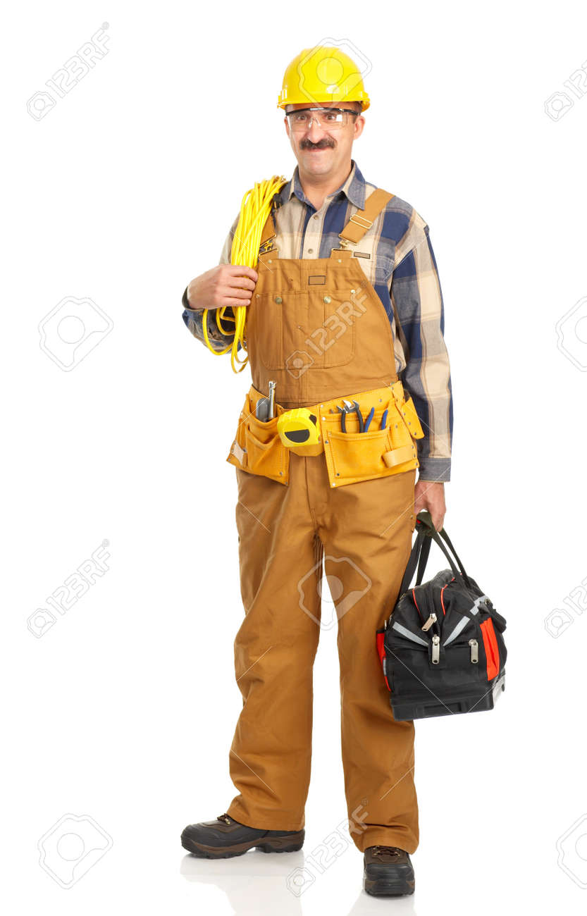 Handsome builder in yellow uniform. Isolated over white background Stock Photo - 4312424