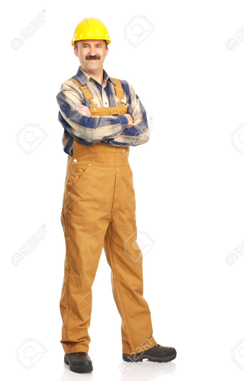 Young handsome builder in yellow uniform. Isolated over white background Stock Photo - 4365209