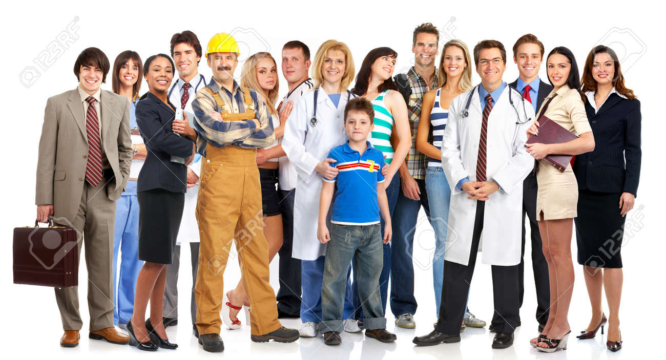 Group of young smiling people. Over white background Stock Photo - 4420642