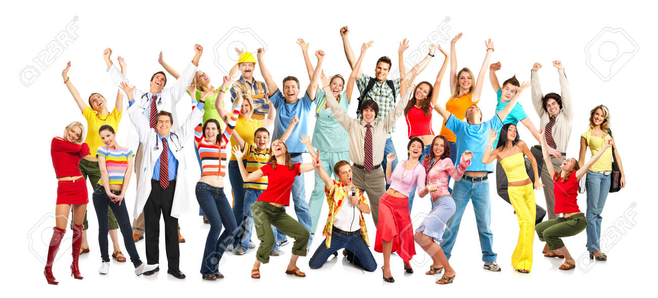 Happy funny people. Isolated over white background Stock Photo - 4420661