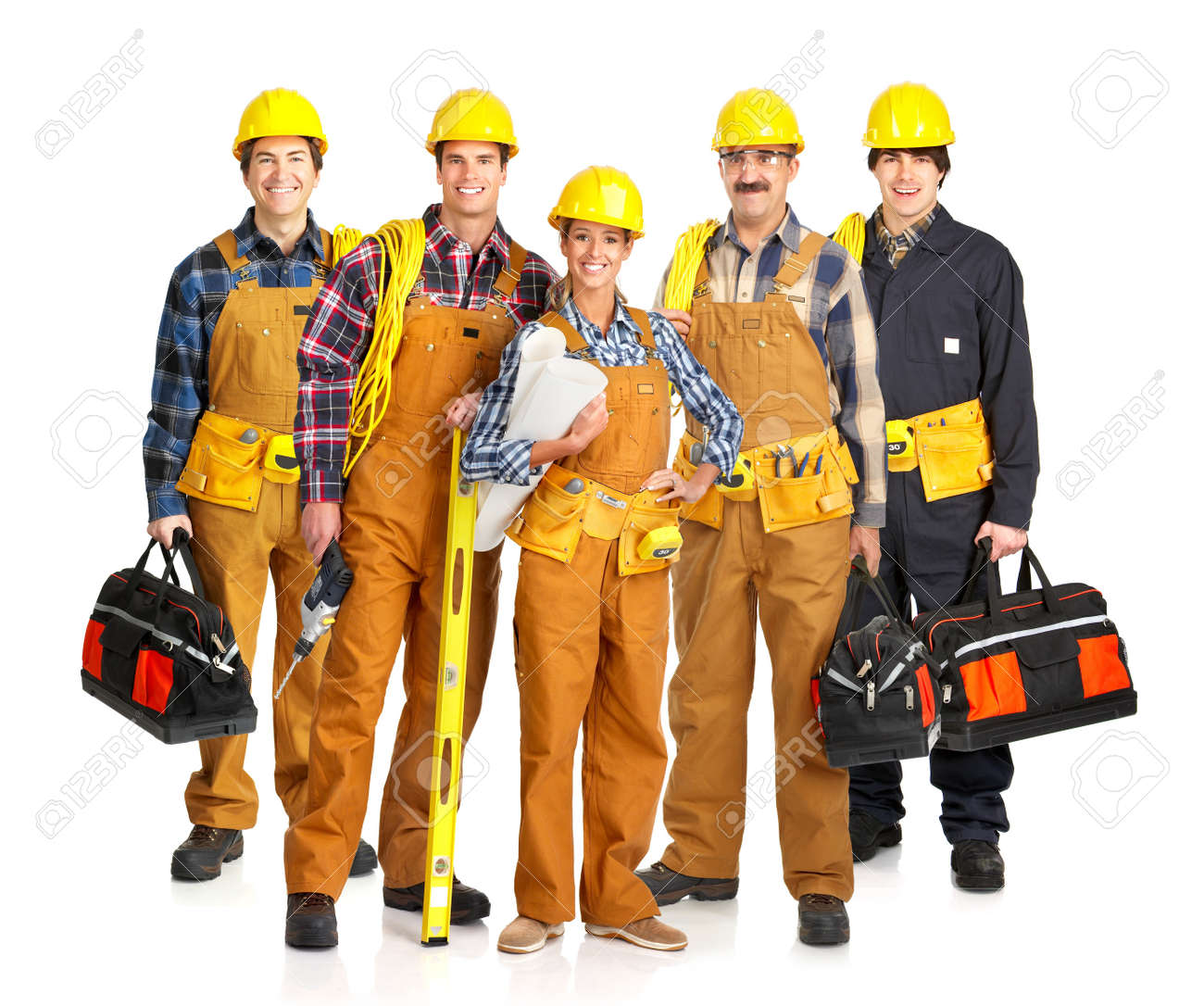 Builder people  in yellow uniform. Isolated over white background Stock Photo - 4487549