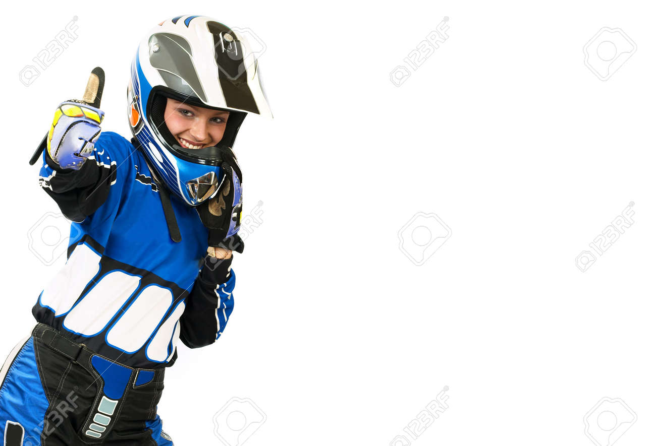 Attractive sexy woman in motoracer uniform. 