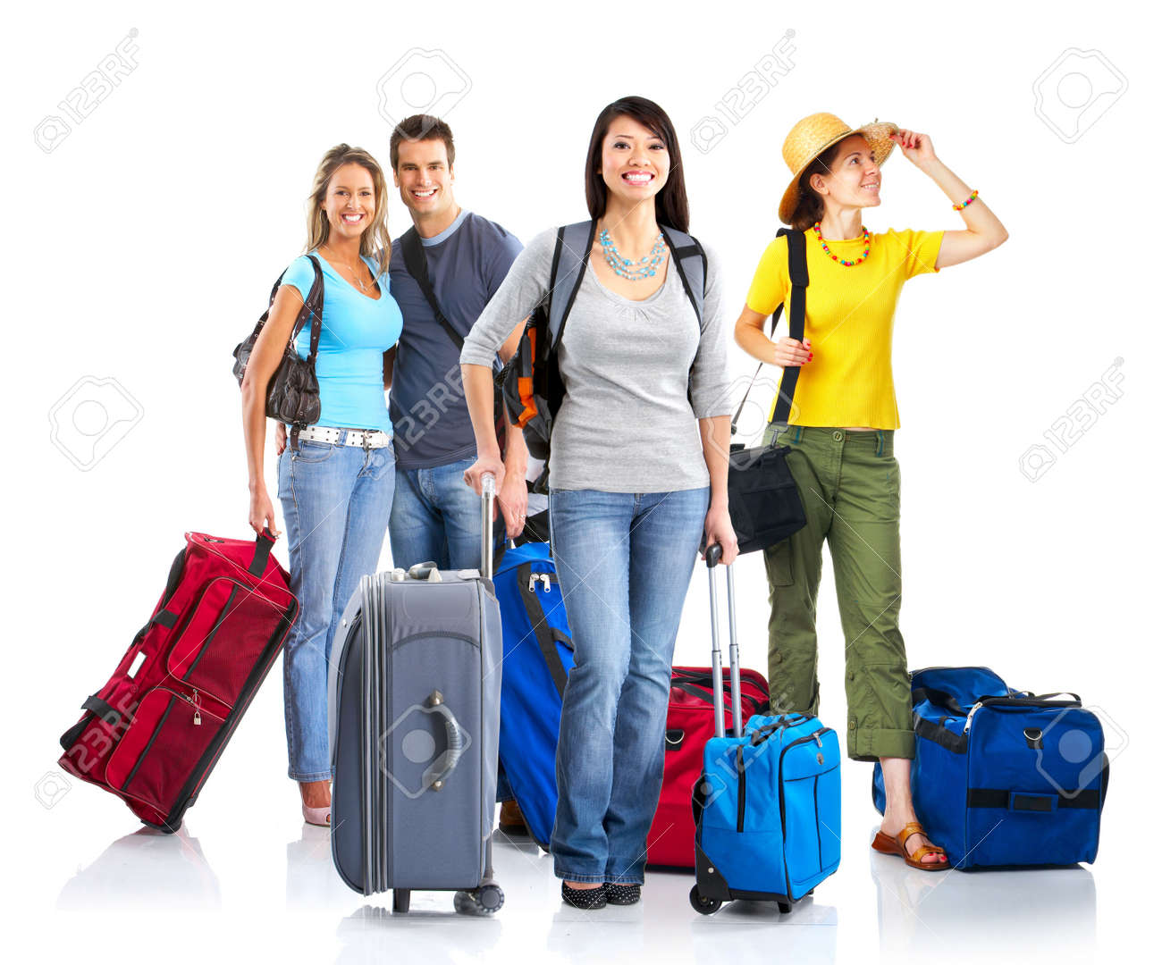 Happy young people tourists. Isolated over white background Stock Photo - 4752418