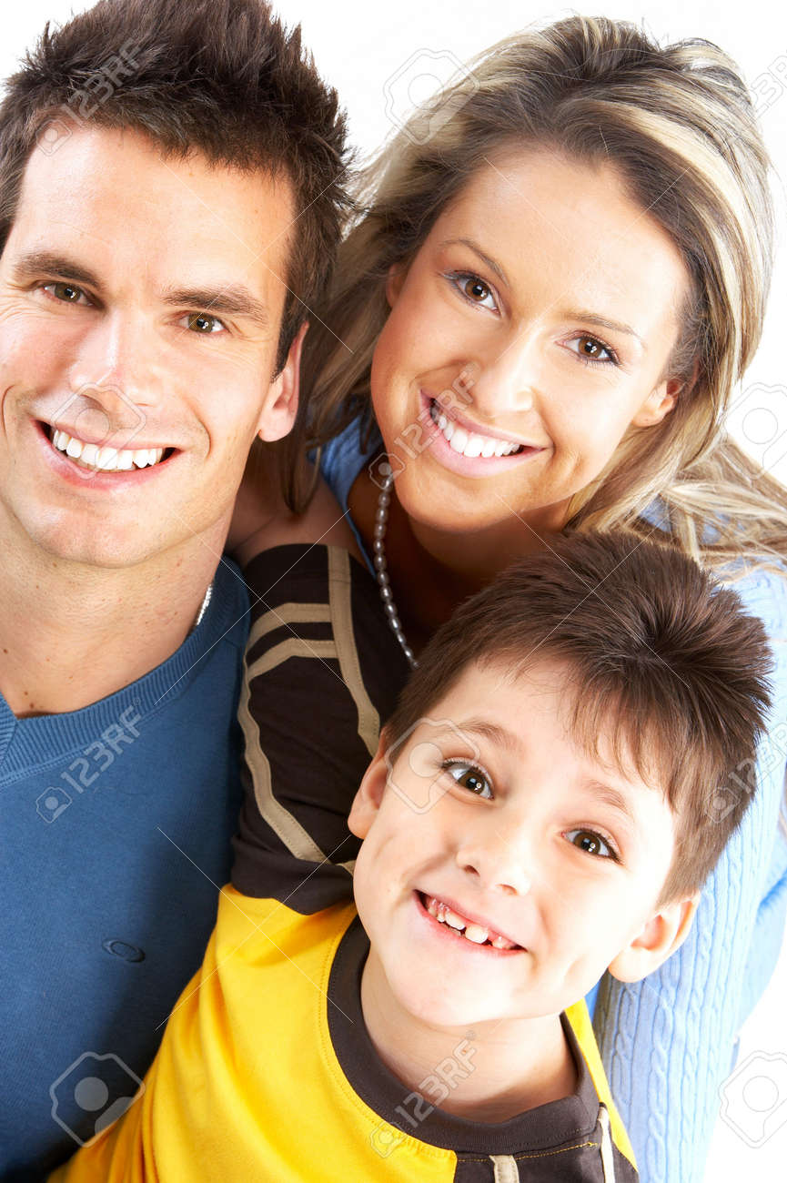 Happy family. Father, mother and boy. Over white background Stock Photo - 4752401