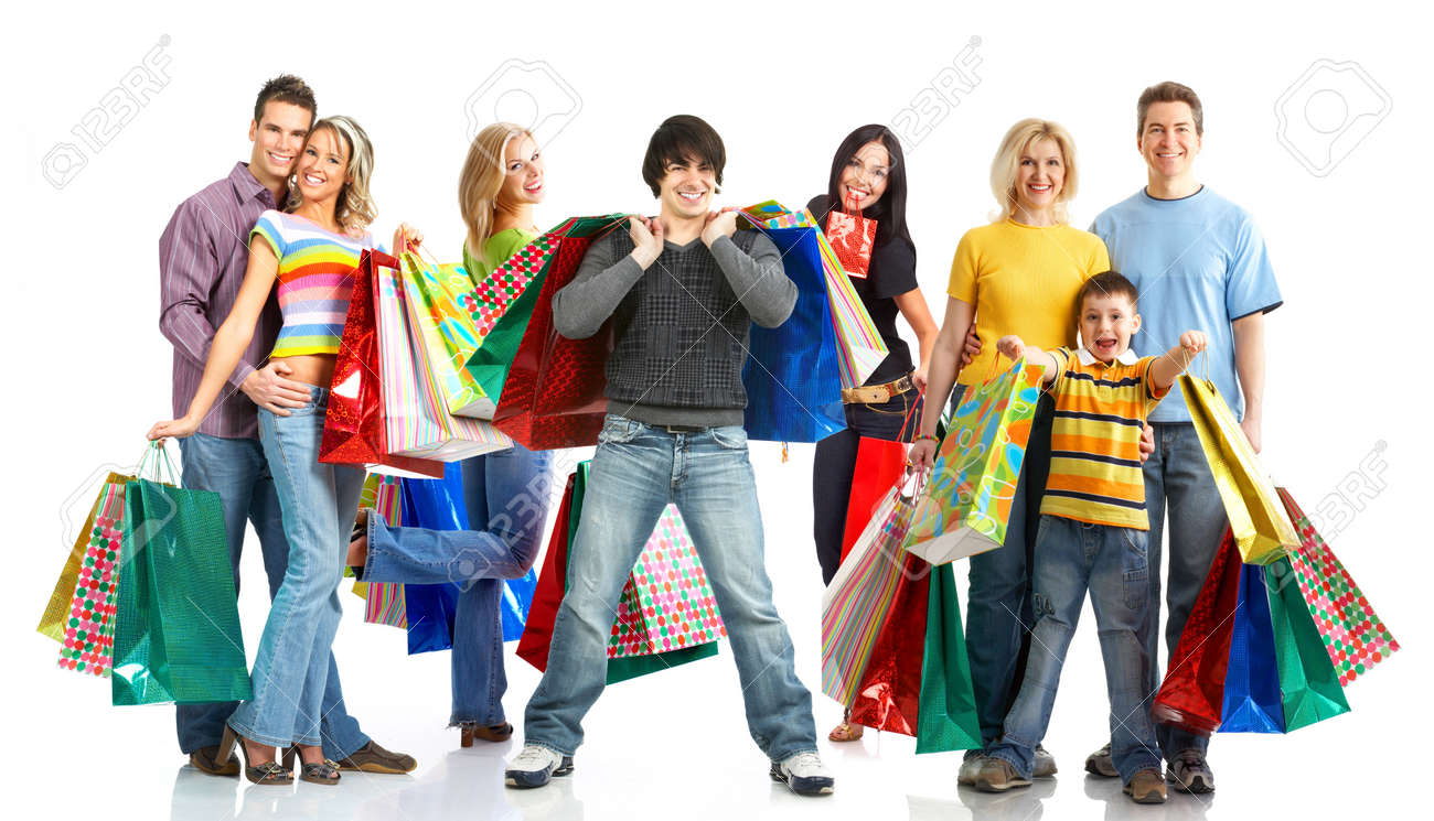 Happy shopping people. Isolated over white background Stock Photo - 4780773