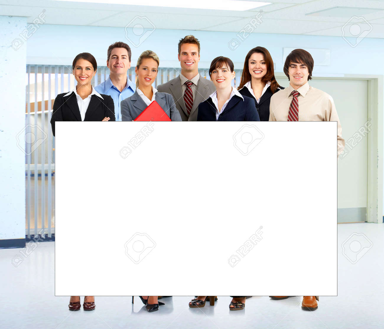 Young smiling  business woman working with laptopwith a plackard Stock Photo - 4865004