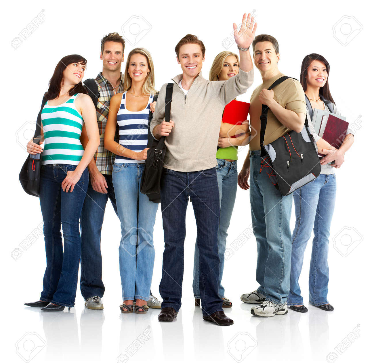 group of the young smiling  students. Over white background Stock Photo - 4903650
