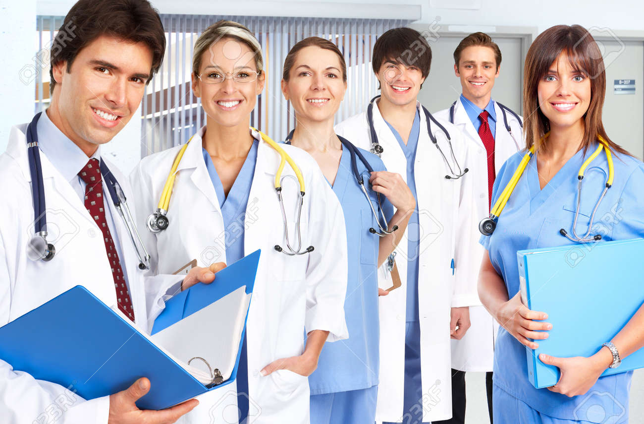 Smiling Medical People With Stethoscopes. Doctors And Nurses Stock ...