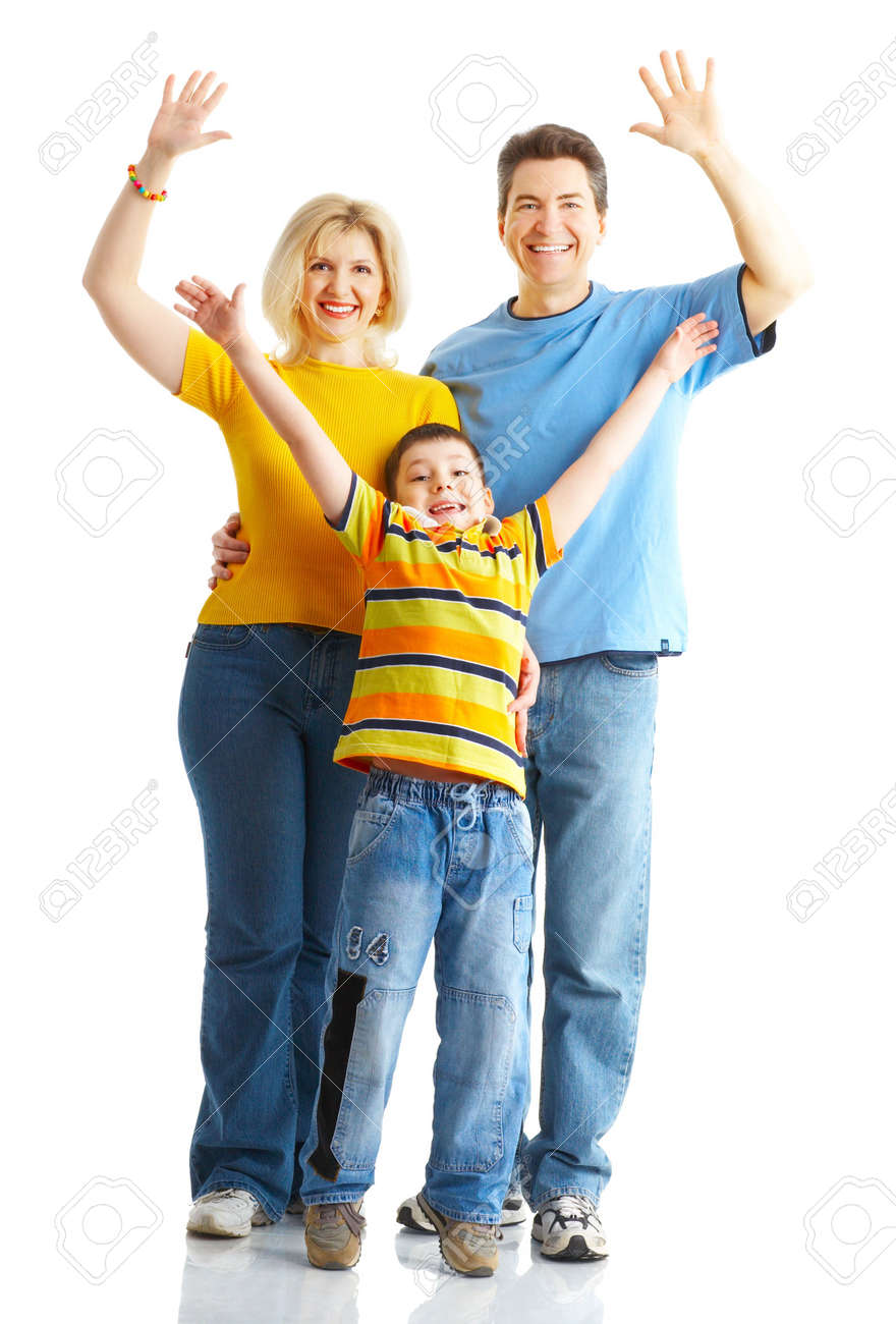 Happy family. Father, mother and boy over white background Stock Photo - 4903698