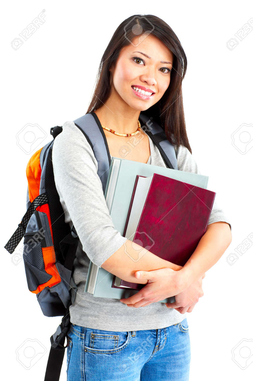 Young smiling  student woman. Over white background Stock Photo - 4939446