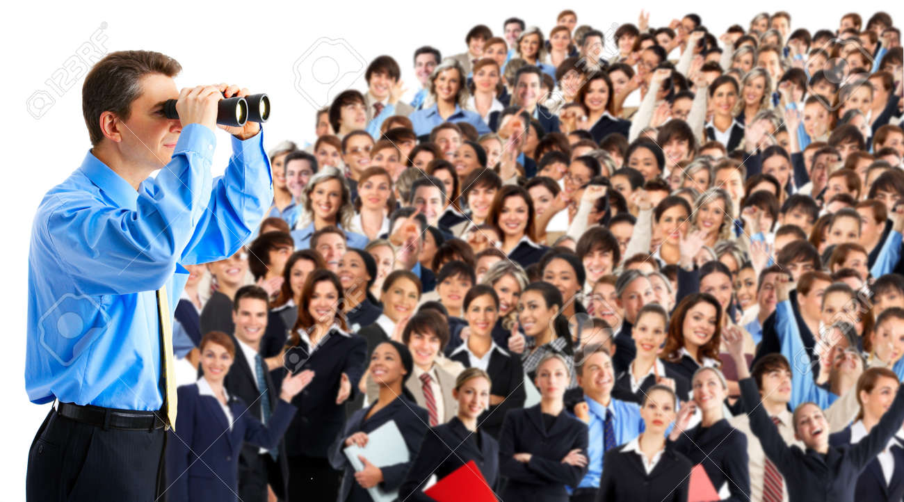 businessman  with binoculars looking at the business people Stock Photo - 4939425