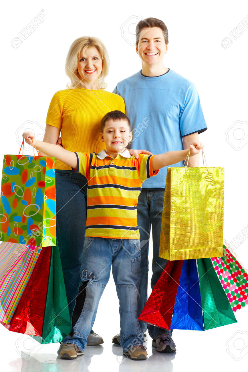 Happy family shopping. Isolated over white background Stock Photo - 4956353