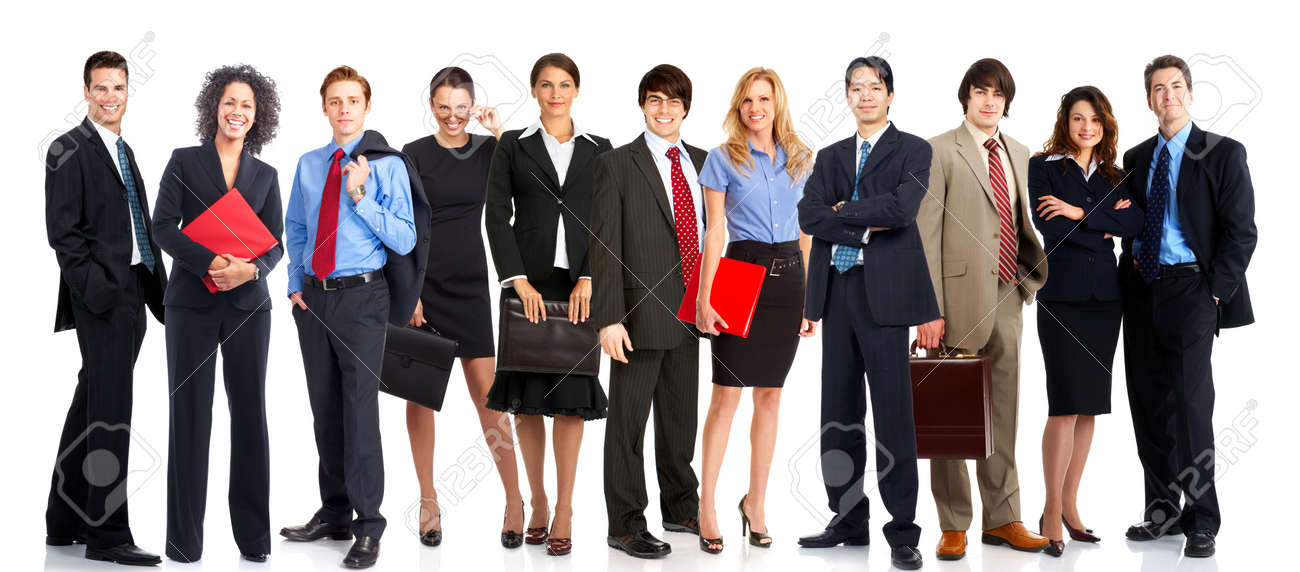 Large group of young smiling business people. Over white background Stock Photo - 4976629