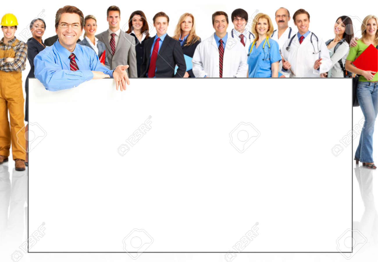 Large group of young smiling business people. Over white background Stock Photo - 5069076