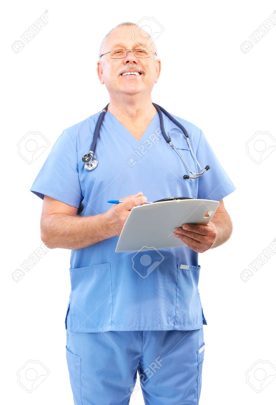 Smiling medical doctor with stethoscope. Isolated over white background Stock Photo - 5349737