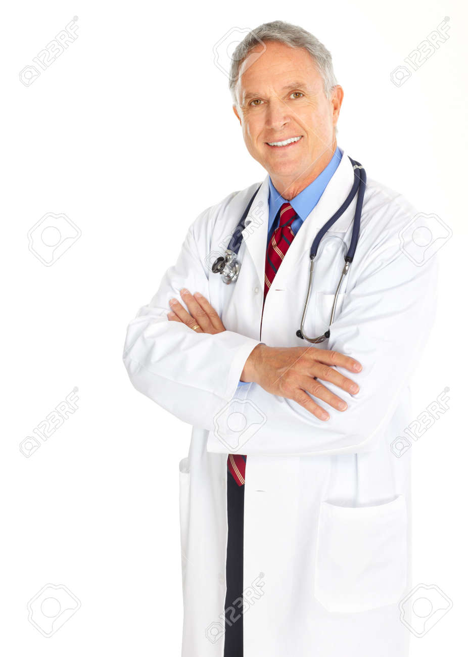 Smiling medical doctor with stethoscope. Isolated over white background Stock Photo - 5614779
