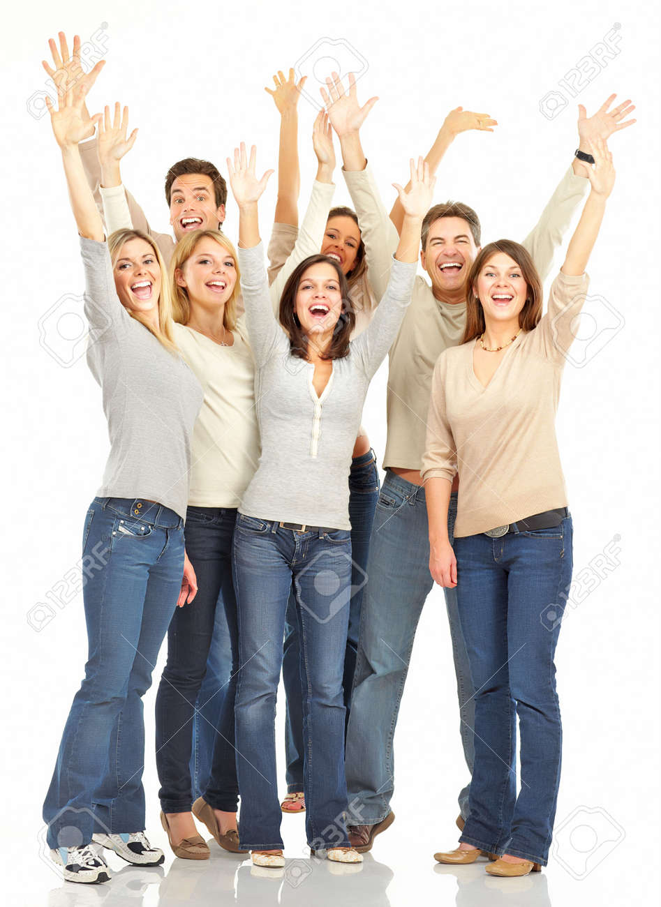 Happy funny people. Isolated over white background Stock Photo - 5641988