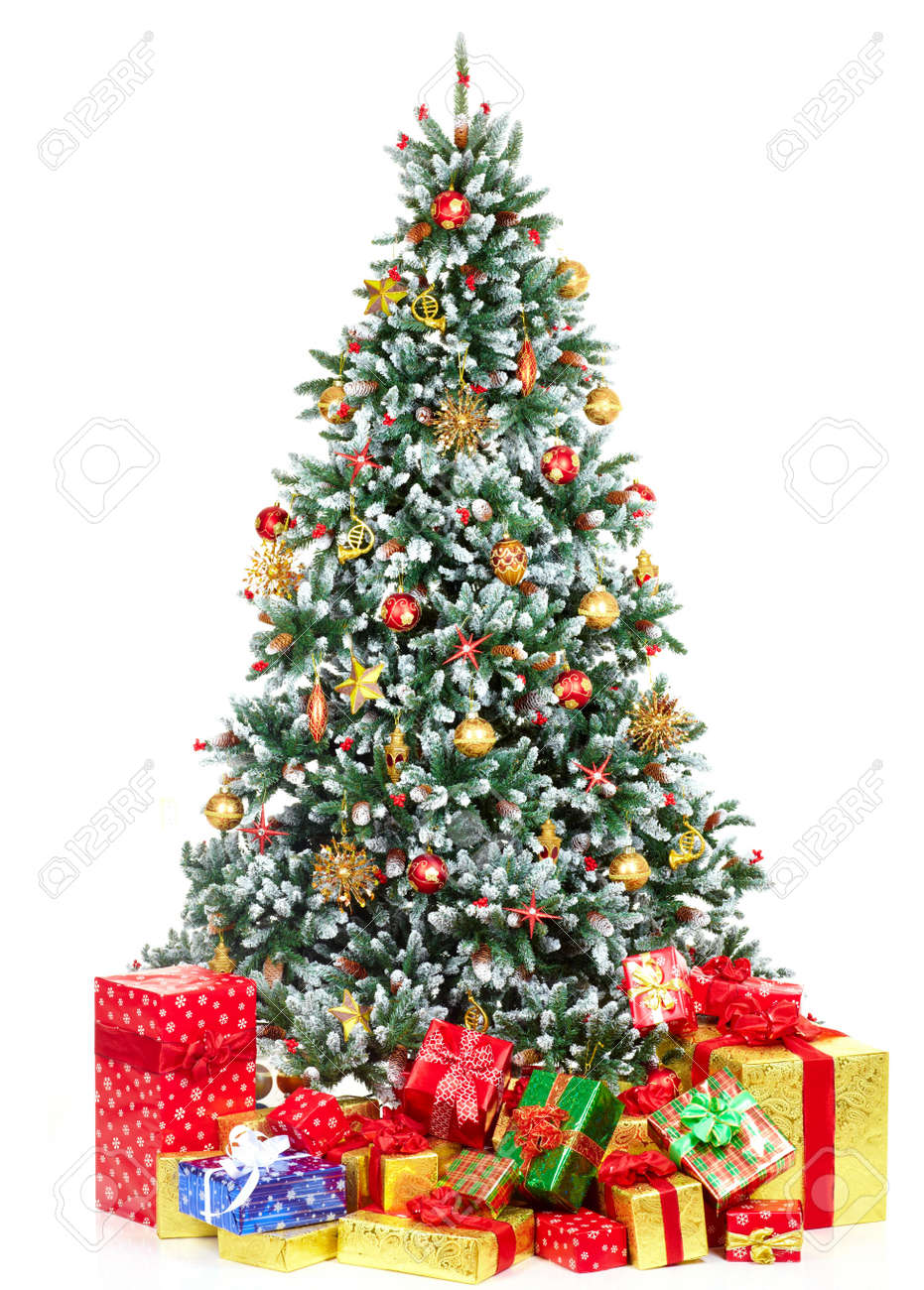 Christmas Tree Backgrounds.Christmas Tree And Gifts Over White Background