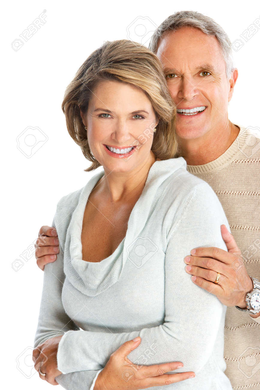 Happy elderly couple in love. Isolated over white background Stock Photo - 5770927