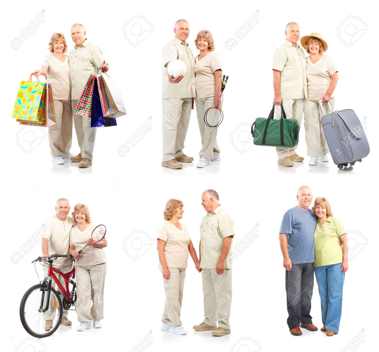 Happy elderly couple in love. Isolated over white background Stock Photo - 5770961
