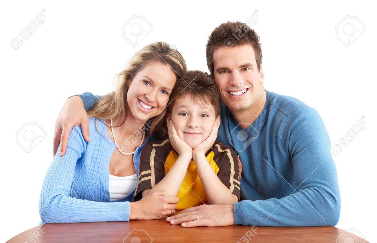Happy family. Father, mother and boy. Over white background Stock Photo - 5771503