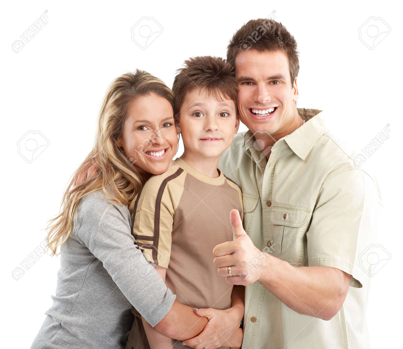 Happy family. Father, mother and boy. Over white background Stock Photo - 5771271